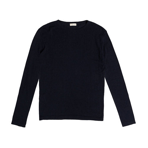 Cashmere Blend Crew Neck Knitted Sweater Navy Blue