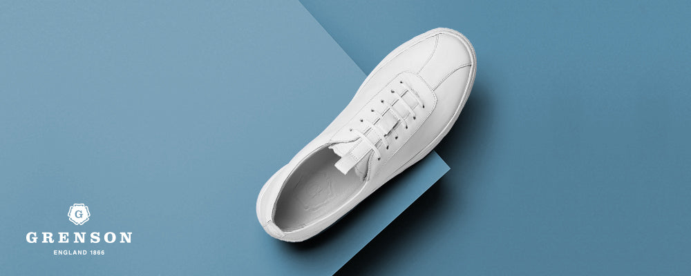 Grenson White Leather Oxford Sneaker