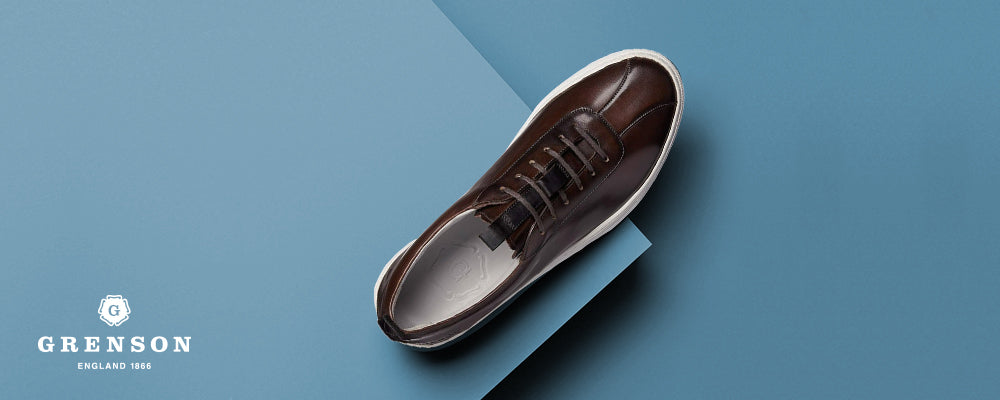Grenson Brown Hand Painted Leather Oxford Sneaker