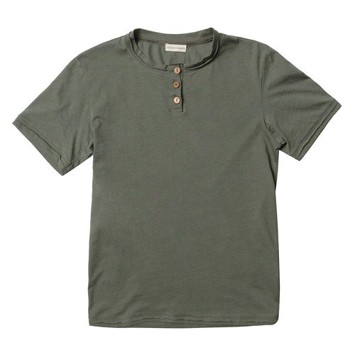 Organic Cotton Short Sleeve Henley T-shirt Khaki