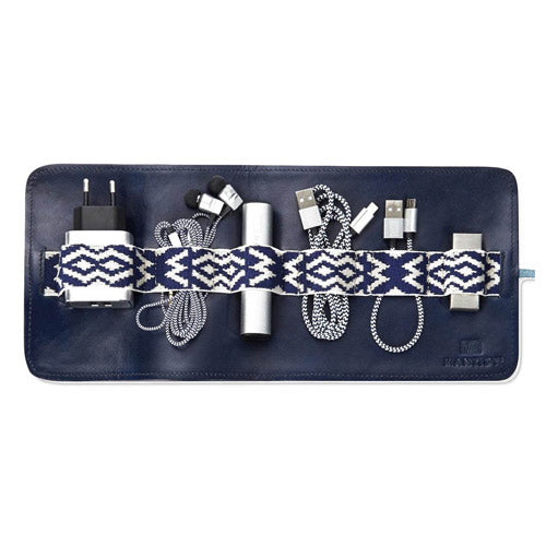 Mantidy Herringbone Tech Roll Navy Blue Leather