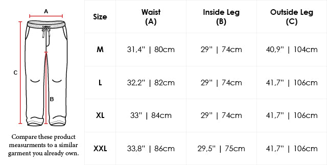 Size Chart Loose Fit Cotton Sweatpants