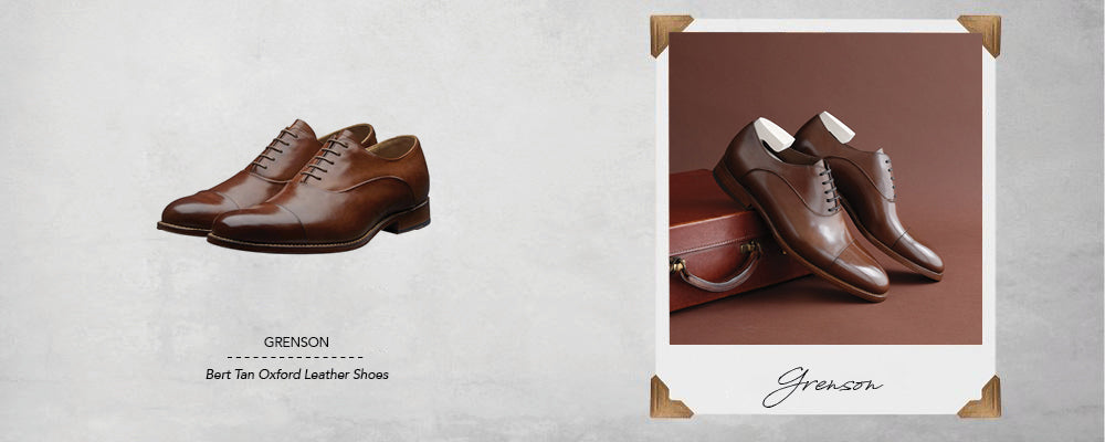 Grenson Bert Tan Oxford Leather Shoes