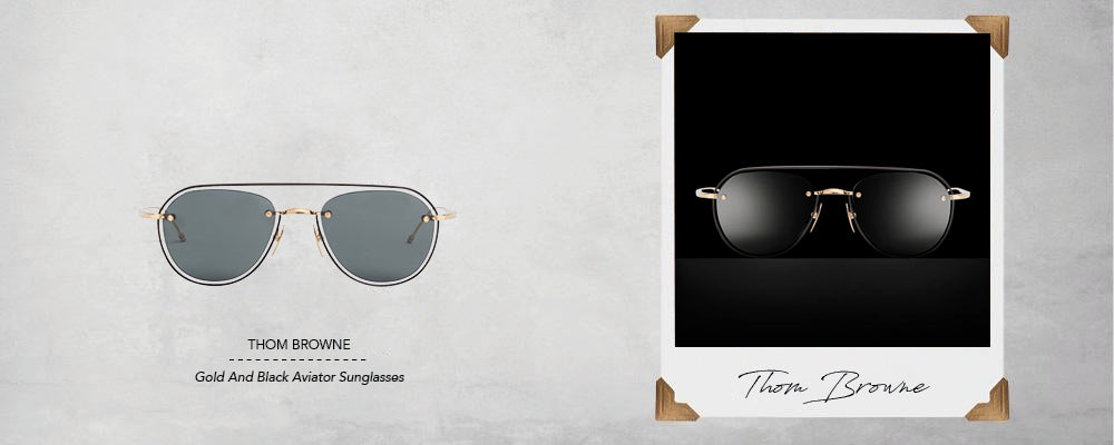 Thom Browne White Gold And Black Enamel Aviator Sunglasses