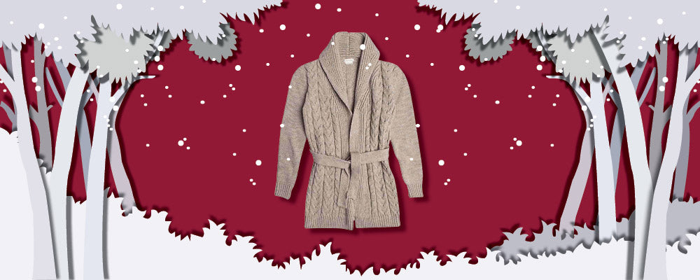 Shawl Collar Wool Blend Belted Cardigan Beige