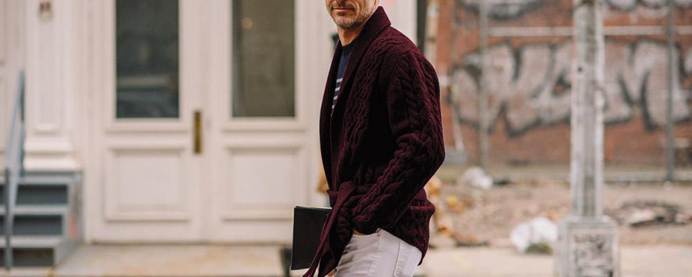 Shawl Collar Wool Blend Belted Cardigan Burgundy