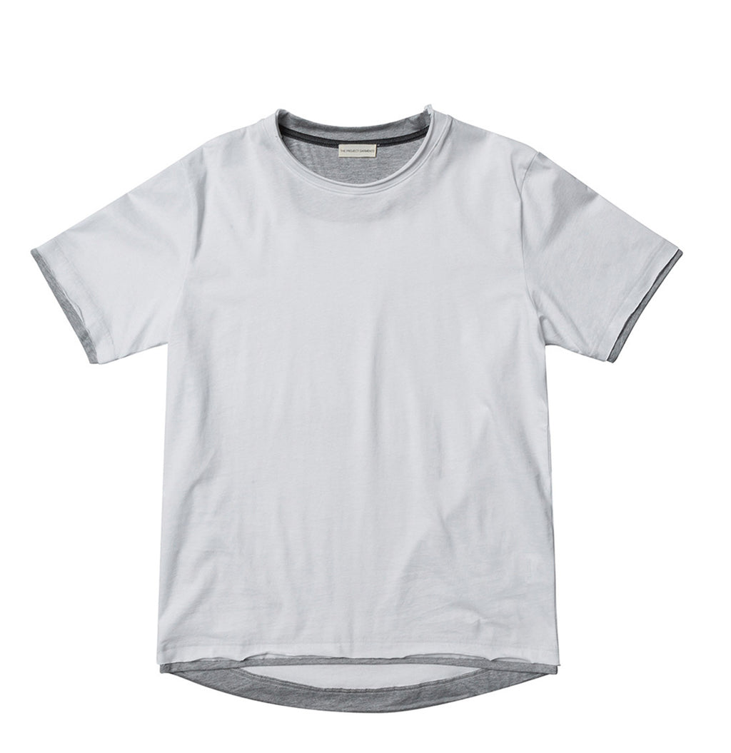 The Project Garments Men's Short Sleeve Crew Neck Asymmetric Hem T-shirt White | The Project Garments - Product