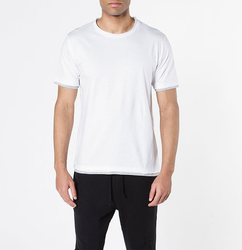 The Project Garments Men's Short Sleeve Crew Neck Asymmetric Hem T-shirt White | The Project Garments - A