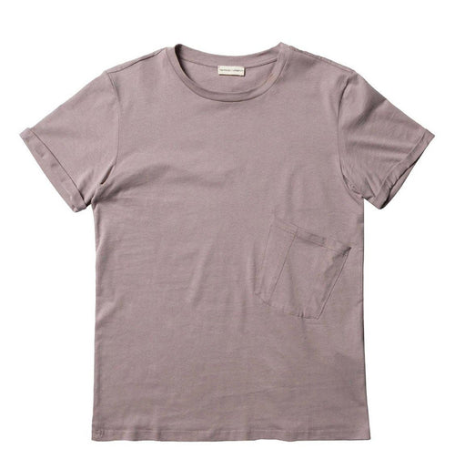 Organic Cotton Asymmetric Pocket Crew Neck T-shirt Powder | The Project Garments - Product