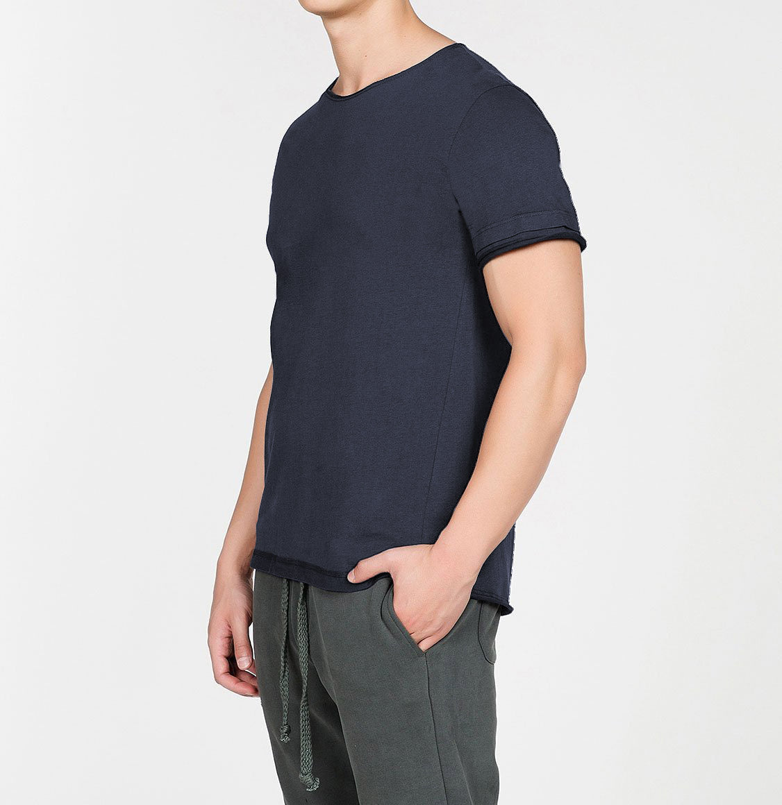 Organic Cotton Crew Neck Garment Dyed T-shirt Slate Blue | The Project Garments - B