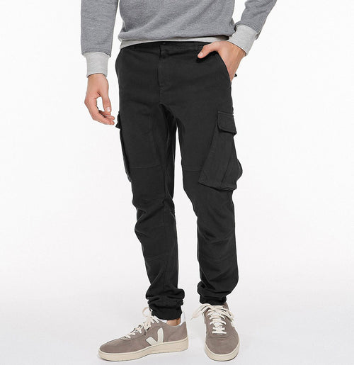Cargo Cotton Light Weight Pants Black Front