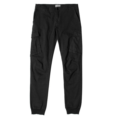 Regular Fit Cotton Blend Garment Washed Chino Pants Black