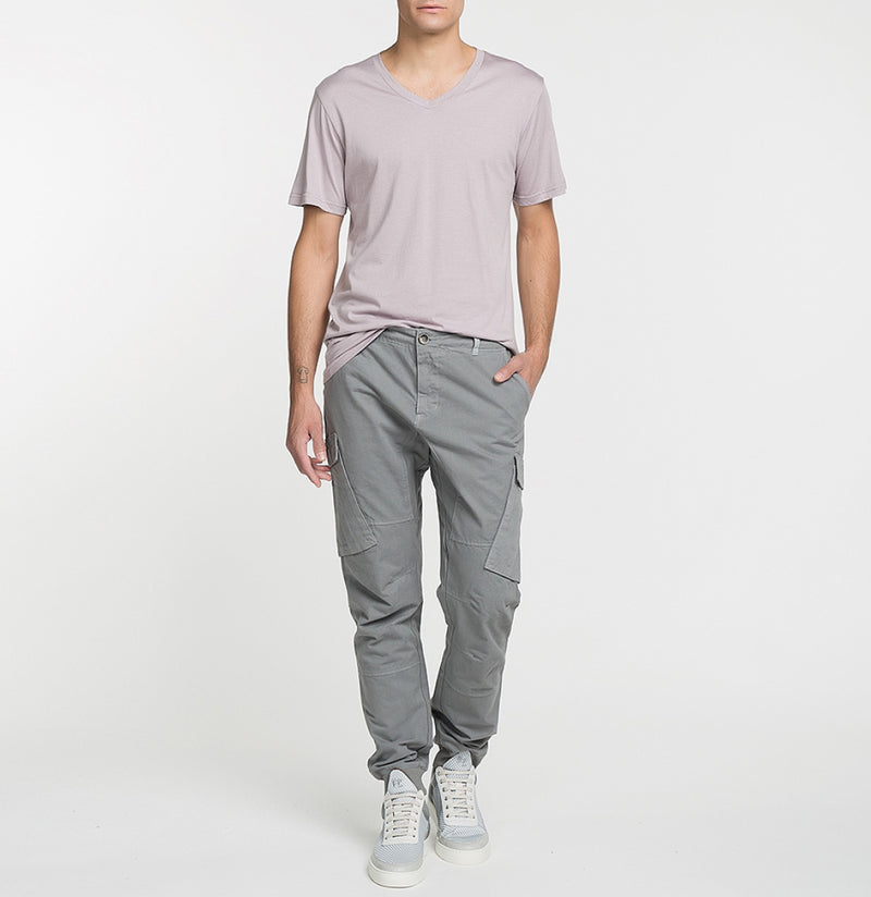 Cargo Cotton Pants Grey Look