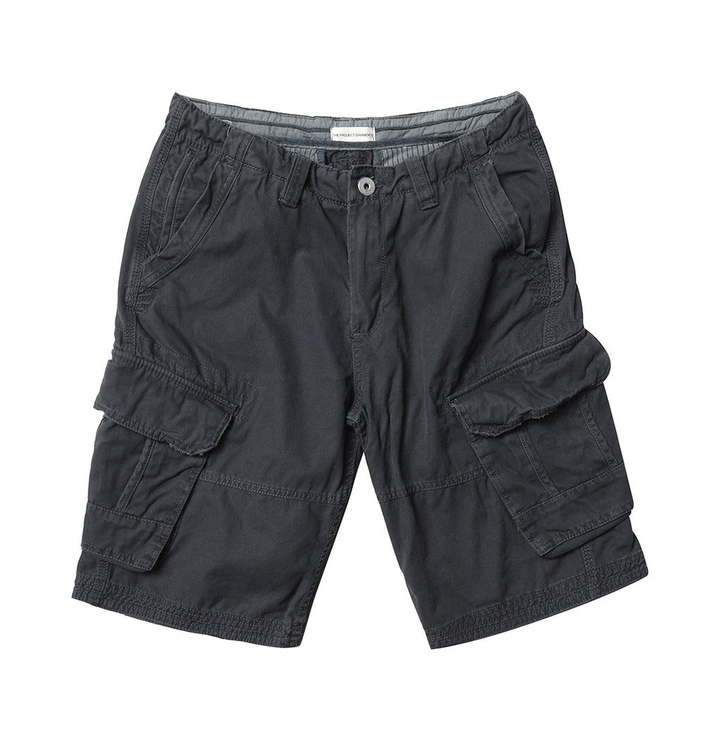 The Project Garments Men's Cotton Cargo Distressed Shorts Charcoal Grey - Product