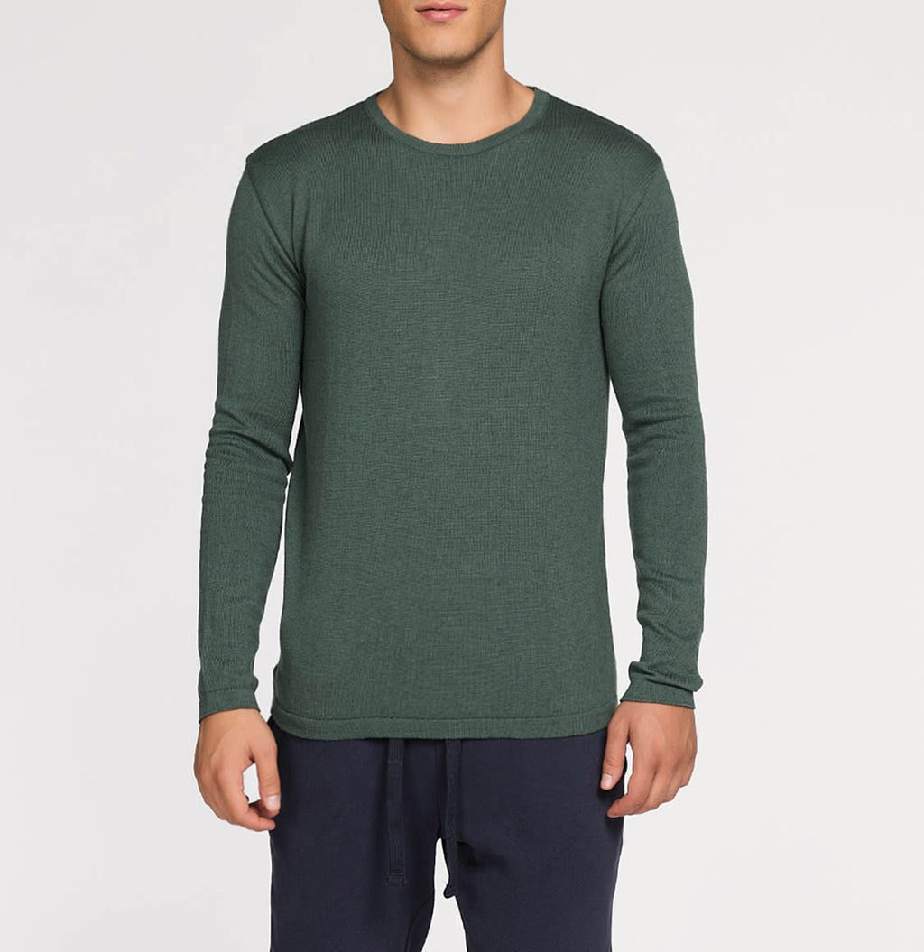 Cashmere Blend Crew Neck Knitted Sweater Forrest Green | The Project Garments - A