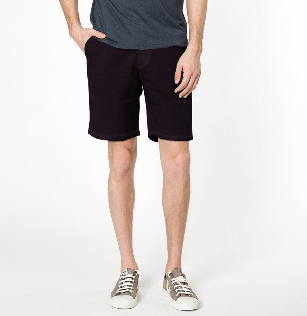 The Project Garments Cotton Blend Distressed Shorts Dark Burgundy Front