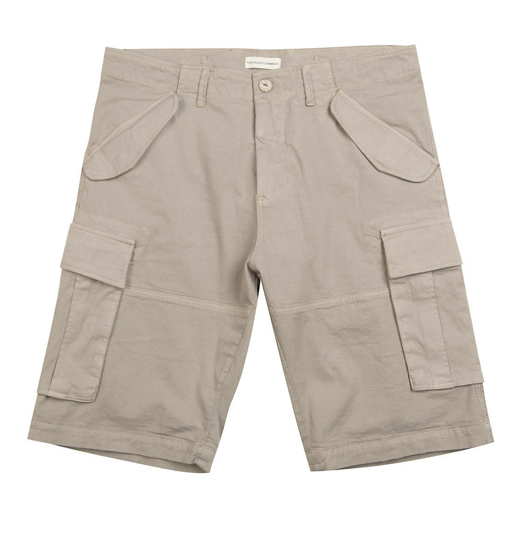 Cotton-Gabardine Cargo Shorts Beige | The Project Garments - Product