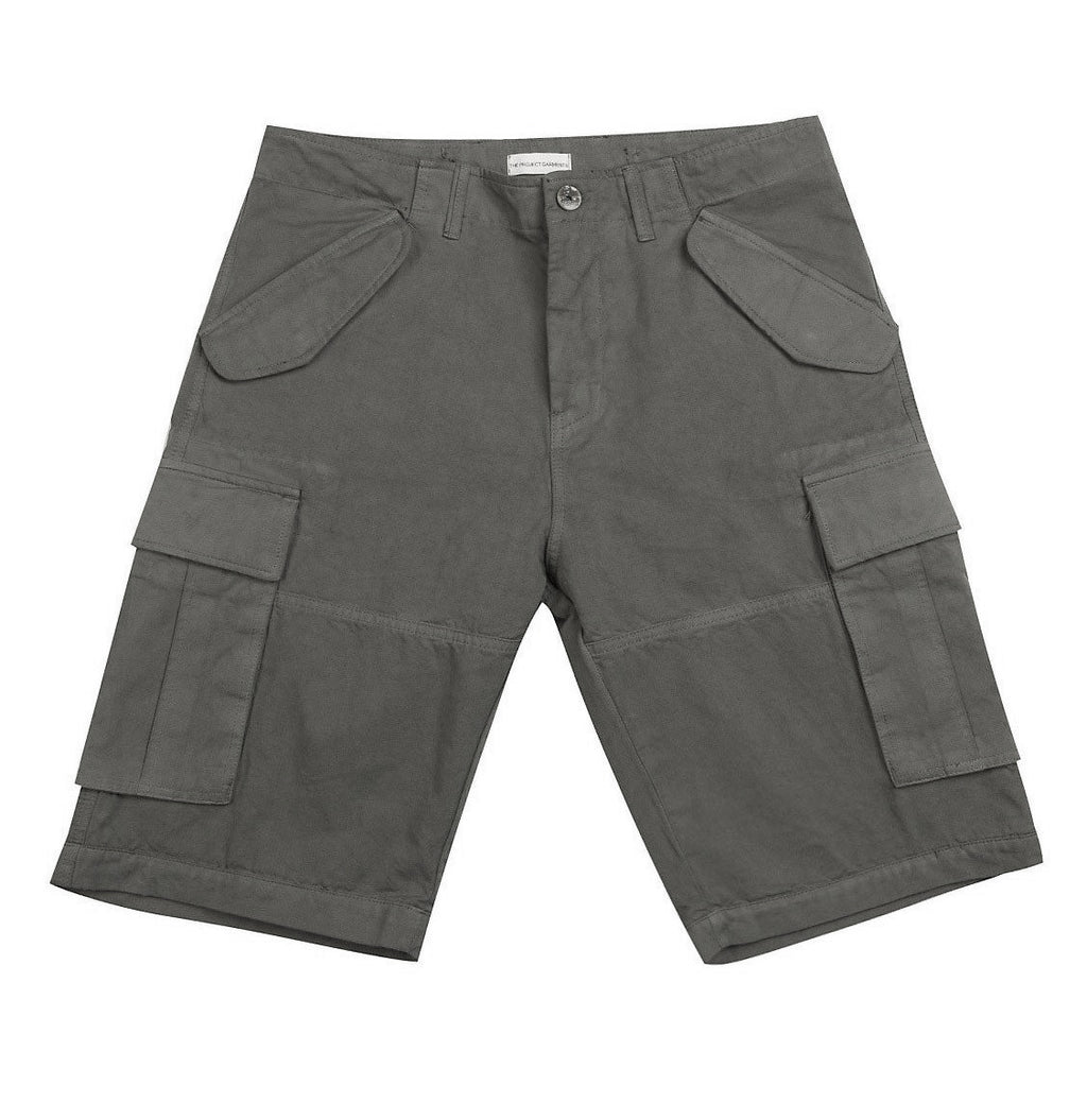 Men's Cotton-Gabardine Cargo Shorts Charcoal Grey | The Project Garments - Product