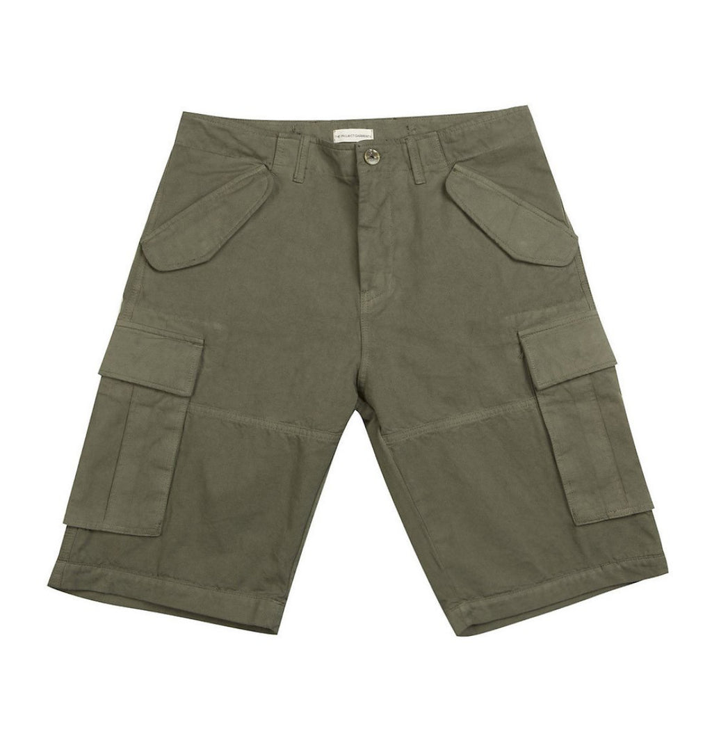 Cotton-Gabardine Cargo Shorts Khaki d