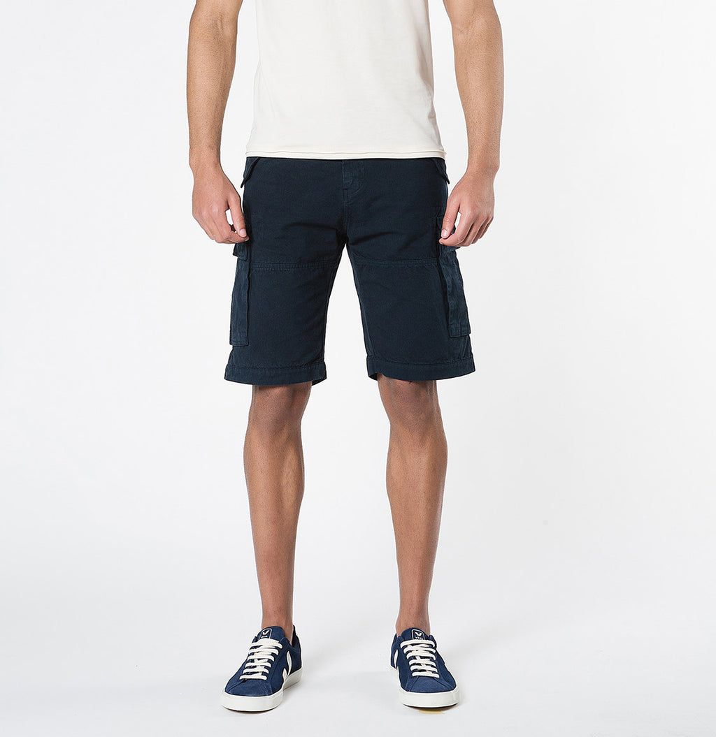 Men's Cotton-Gabardine Cargo Shorts Navy Blue | The Project Garments - A