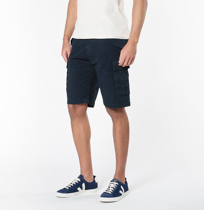 Men's Cotton-Gabardine Cargo Shorts Navy Blue | The Project Garments - B