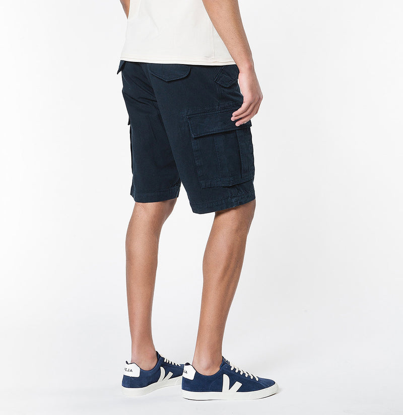 Men's Cotton-Gabardine Cargo Shorts Navy Blue | The Project Garments - C