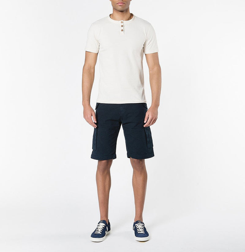 Men's Cotton-Gabardine Cargo Shorts Navy Blue | The Project Garments - Model - A