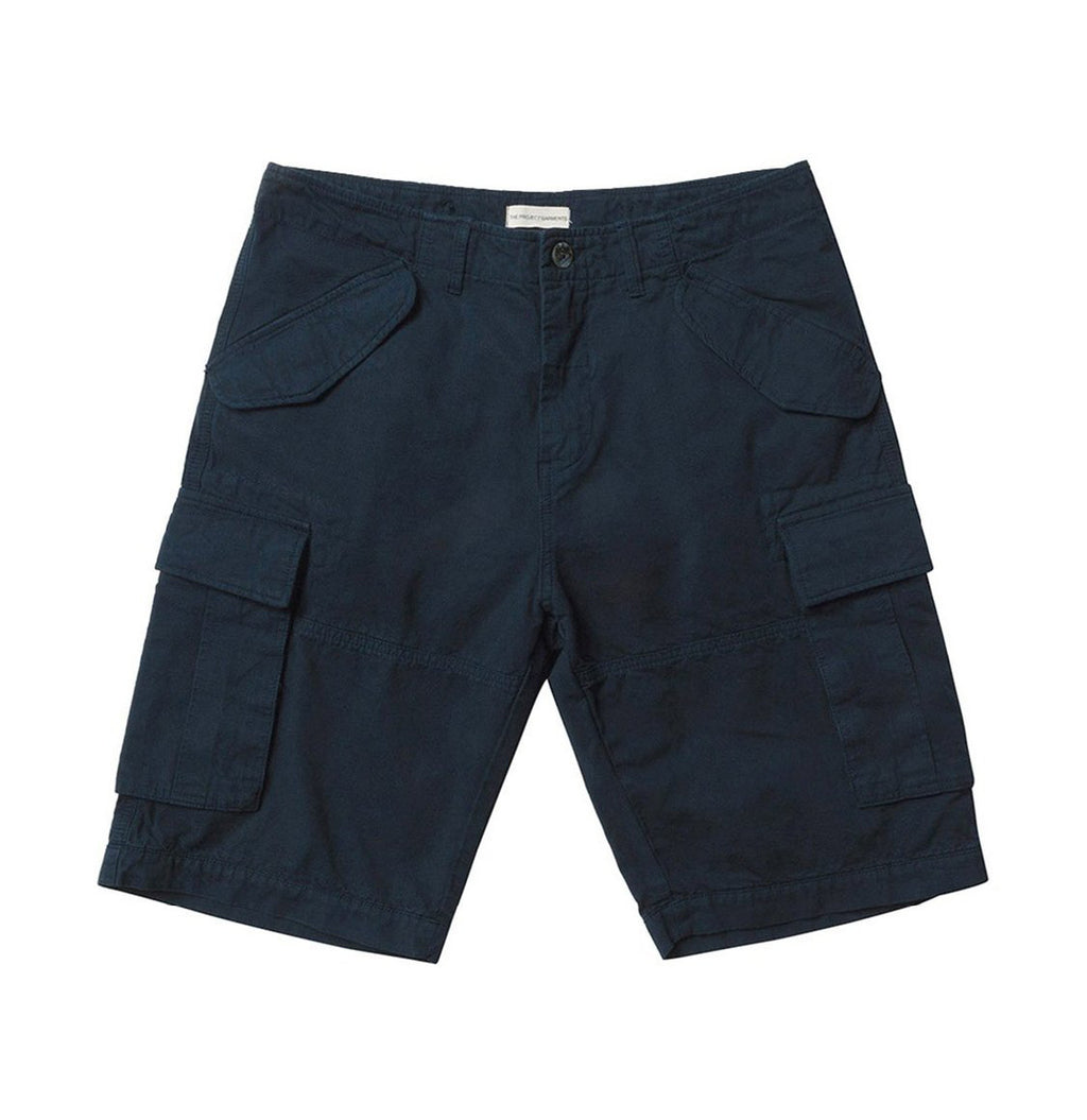 Men's Cotton-Gabardine Cargo Shorts Navy Blue | The Project Garments - Product