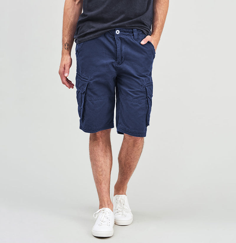 Cotton Cargo Distressed Shorts Blue | The Project Garments - A