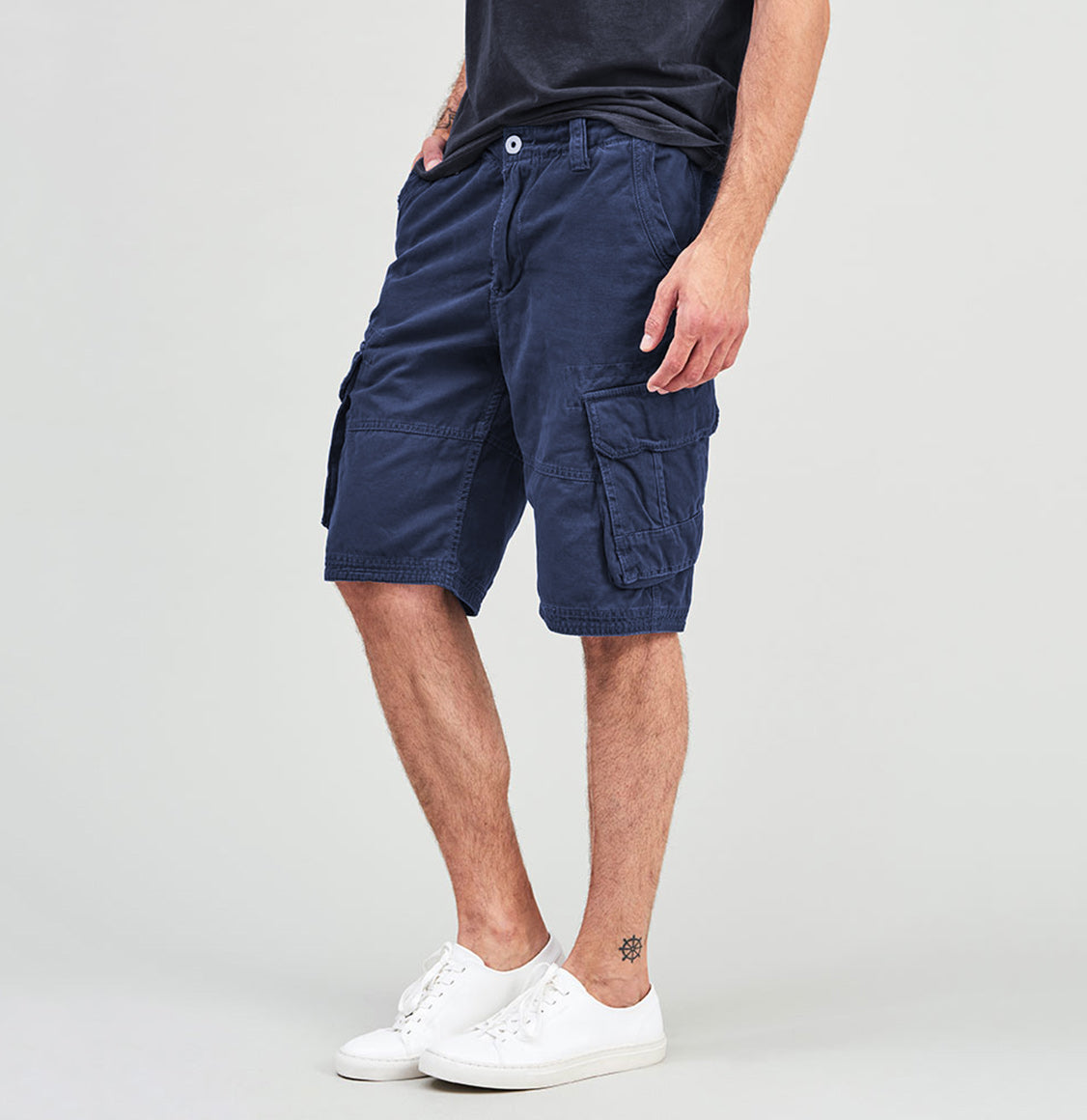 Cotton Cargo Distressed Shorts Blue | The Project Garments - C