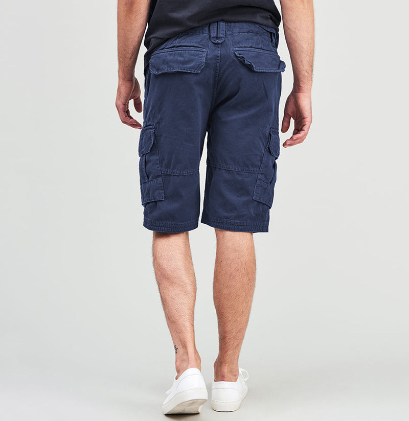 Cotton Cargo Distressed Shorts Blue | The Project Garments - B