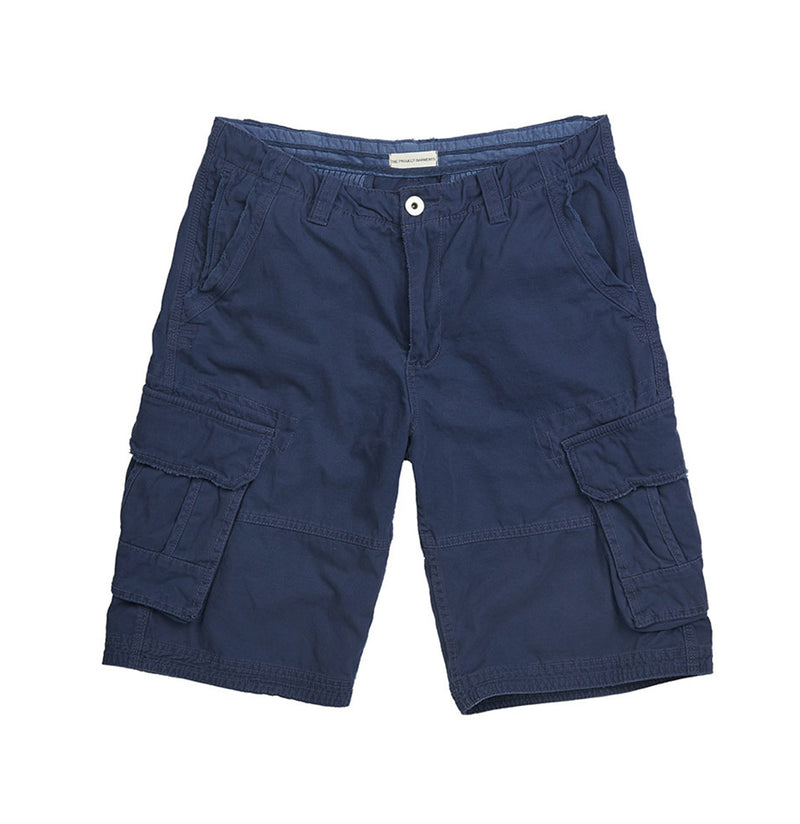 Cotton Cargo Distressed Shorts Blue | The Project Garments - Product