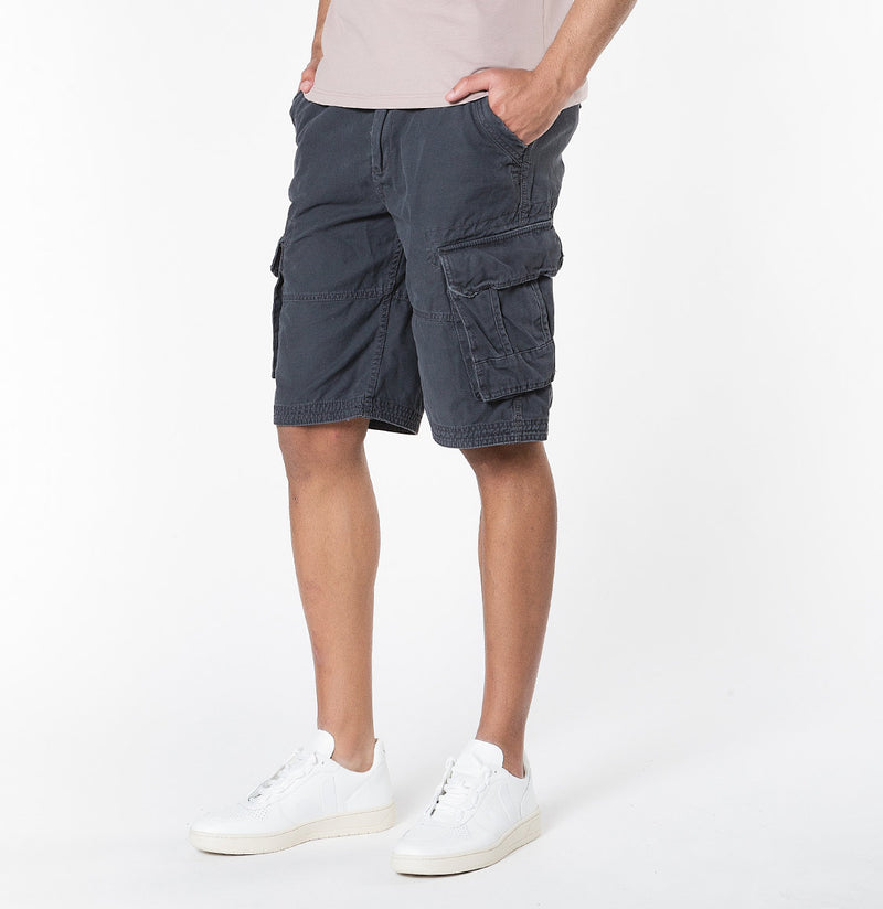 The Project Garments Men's Cotton Cargo Distressed Shorts Charcoal Grey - B