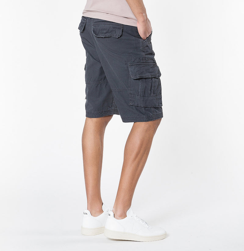 The Project Garments Men's Cotton Cargo Distressed Shorts Charcoal Grey - C