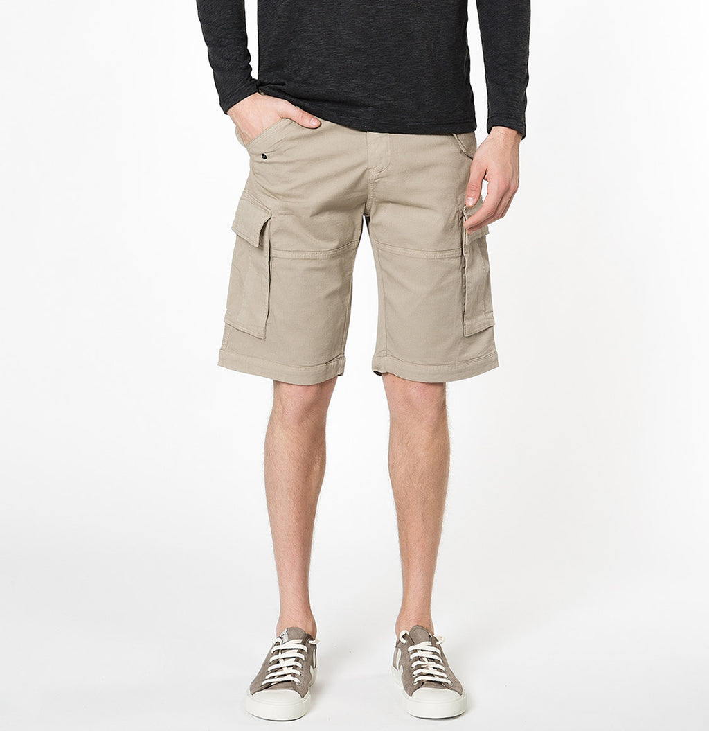 Cotton-Gabardine Cargo Shorts Beige | The Project Garments - A