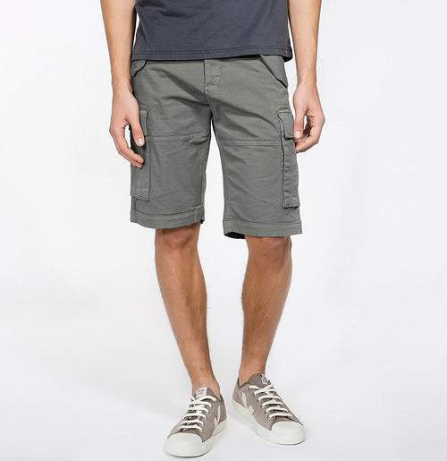 Men's Cotton-Gabardine Cargo Shorts Charcoal Grey | The Project Garments - A