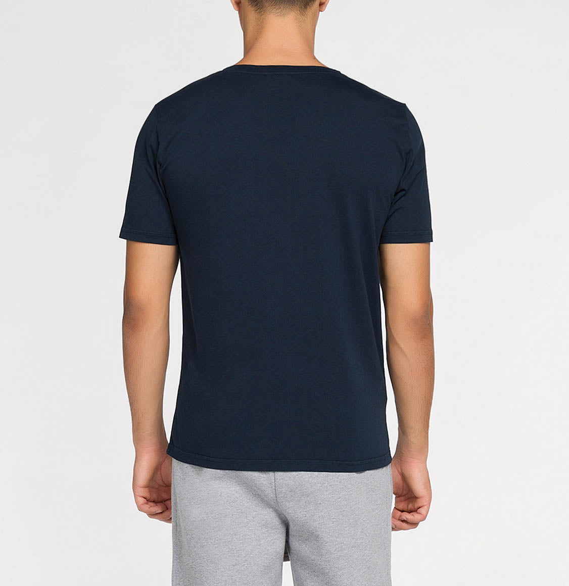 Crew Neck Garment Dyed Organic Cotton T-shirt Navy Blue | The Project Garments - Back