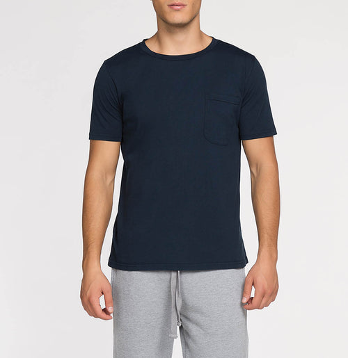 Crew Neck Garment Dyed Organic Cotton T-shirt Navy Blue | The Project Garments - Front