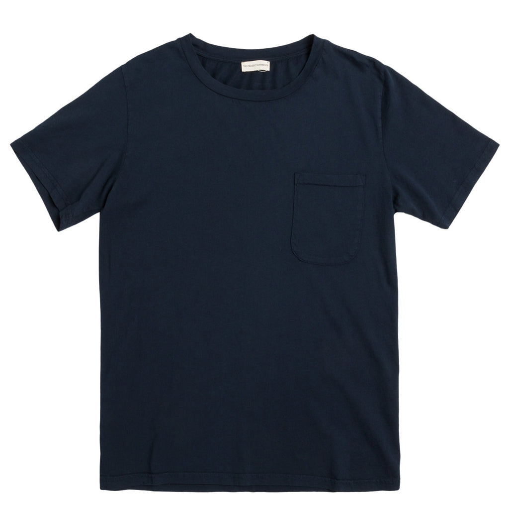 Crew Neck Garment Dyed Organic Cotton T-shirt Navy Blue | The Project Garments - Product