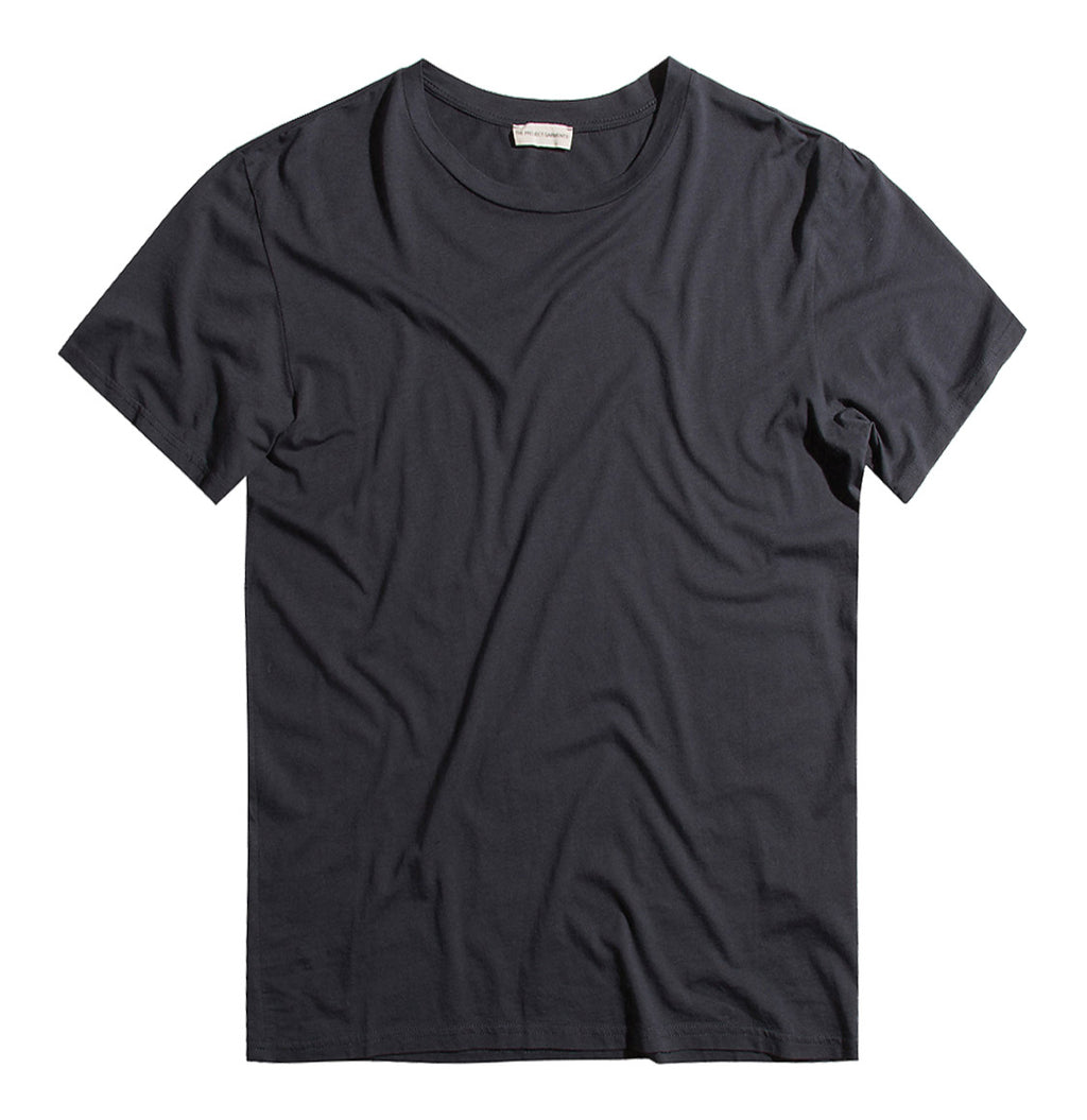 Crew Neck Modal-Blend Garment Washed T-shirt Charcoal Grey