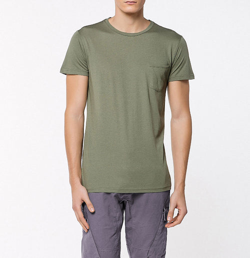 Crew Neck Modal-Blend Pocket Tee Khaki | The Project Garments - A