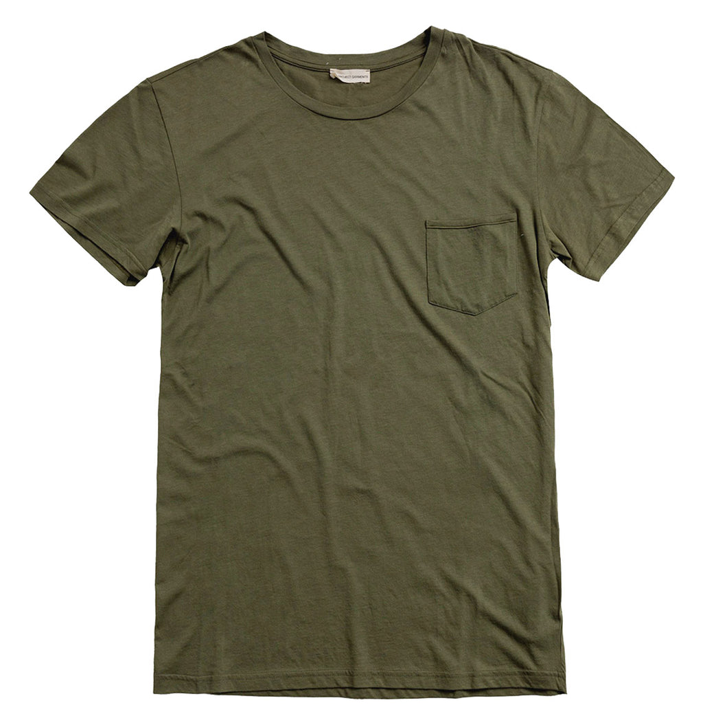 Crew Neck Modal-Blend Pocket Tee Khaki | The Project Garments - Product