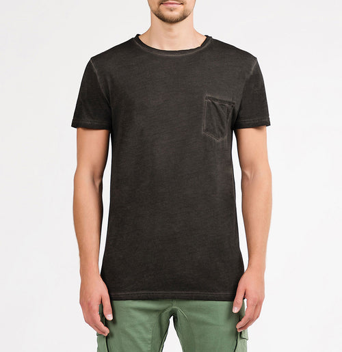Crew Neck Oil Wash Modal-Blend Pocket T-shirt Charcoal Grey