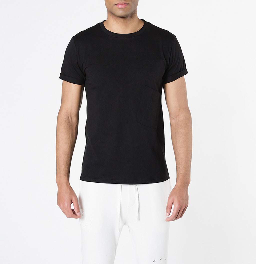 Organic Cotton Asymmetric Pocket Crew Neck T-shirt Black - A