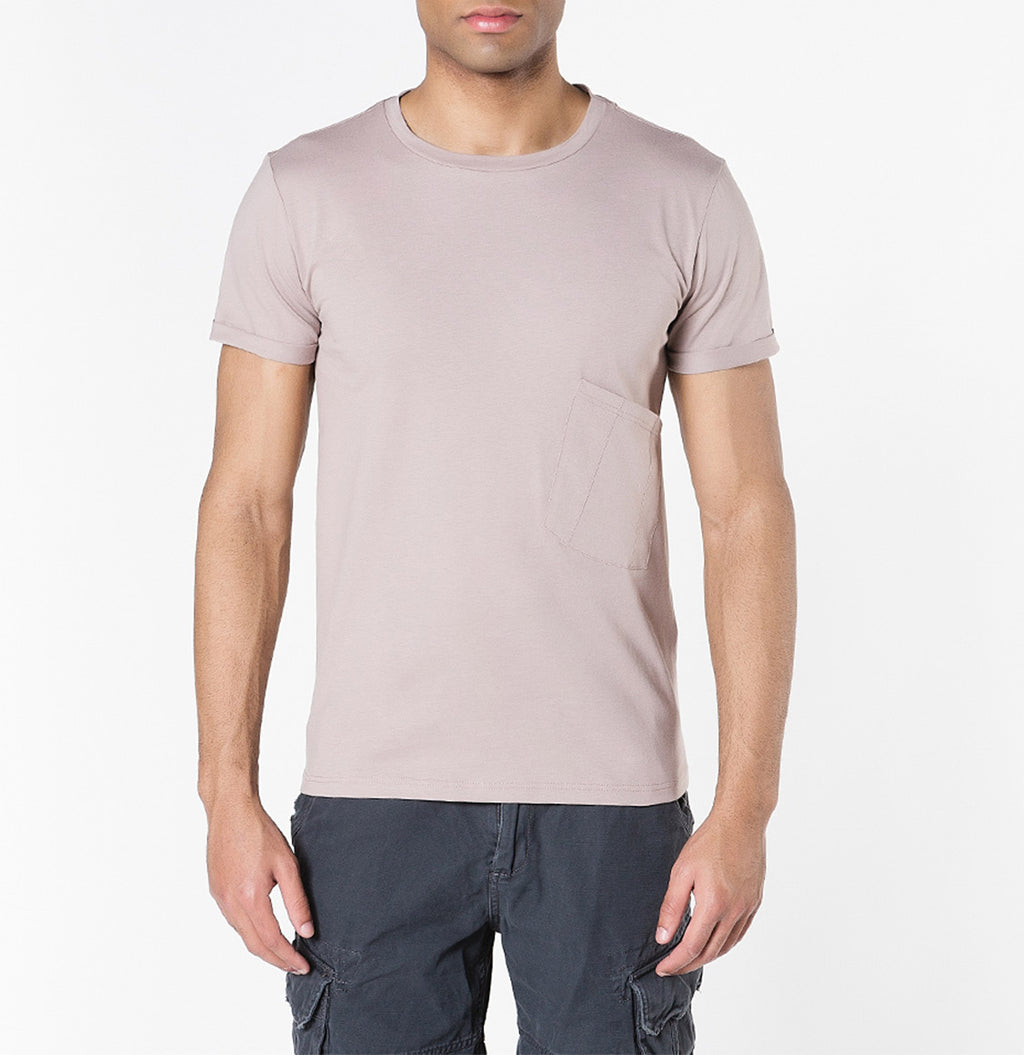 Organic Cotton Asymmetric Pocket Crew Neck T-shirt Powder | The Project Garments - A