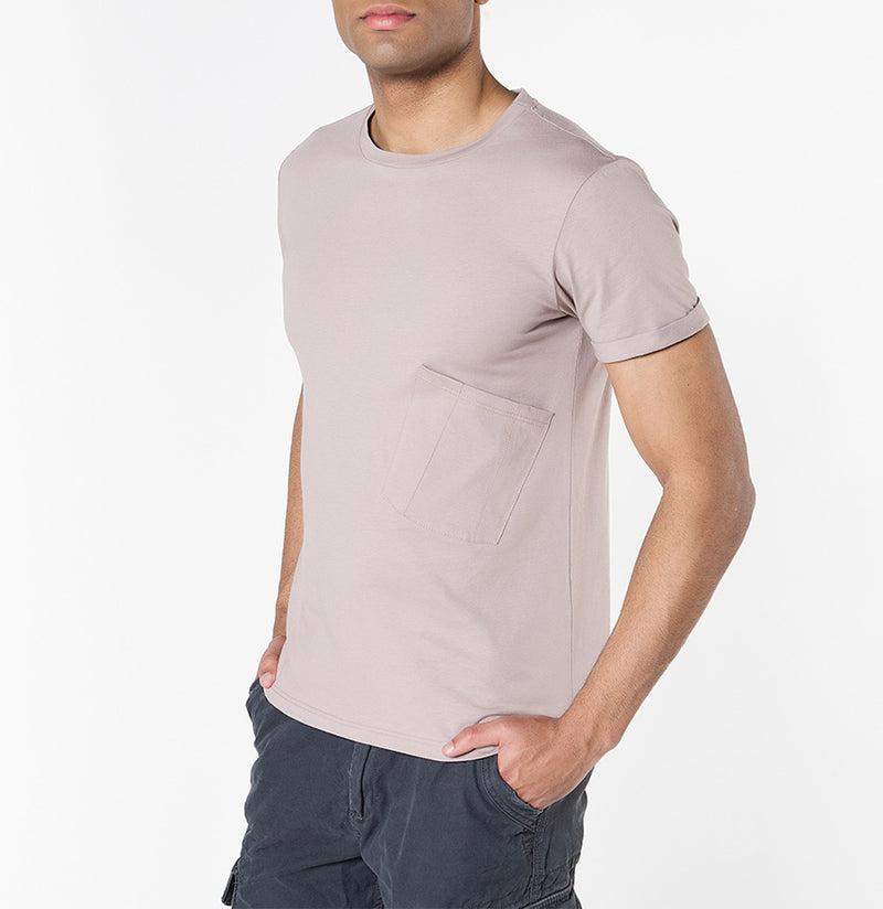 Organic Cotton Asymmetric Pocket Crew Neck T-shirt Powder | The Project Garments - B
