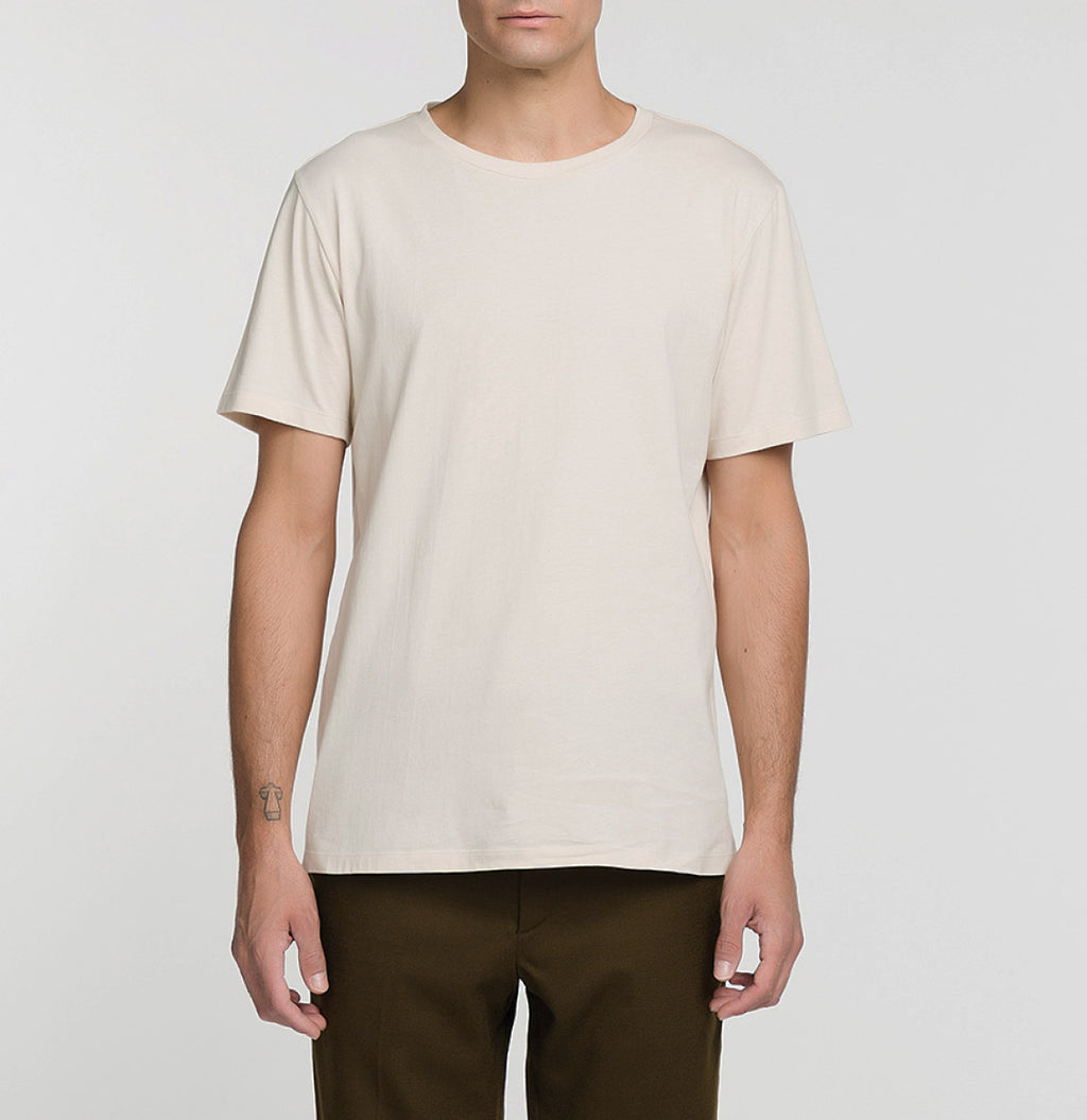 Crew Neck Supima Cotton T-shirt Cream Model A