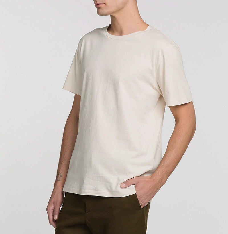 Crew Neck Supima Cotton T-shirt Cream Model B