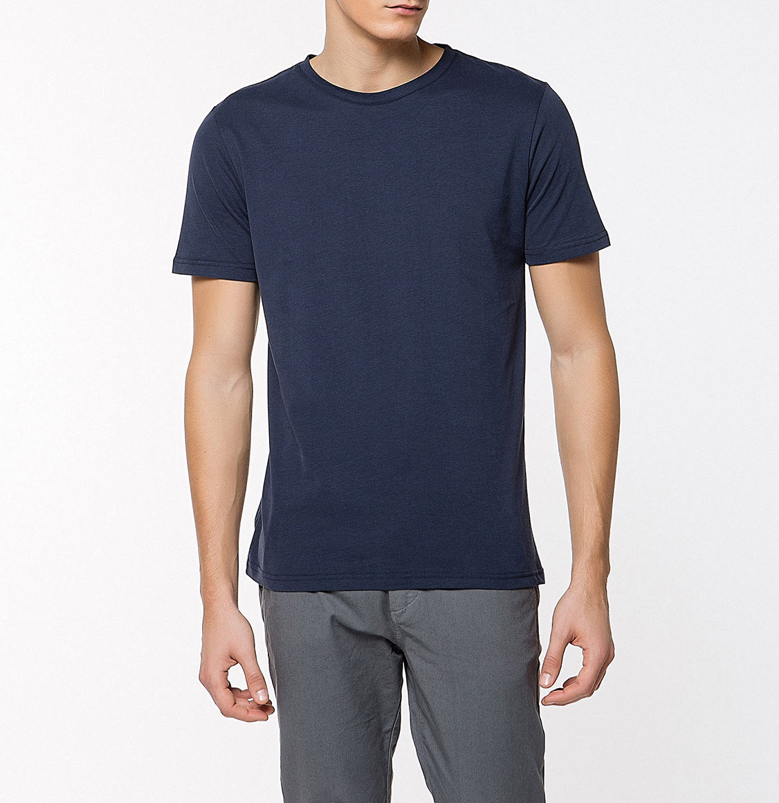 Crew Neck Supima Cotton T-shirt Navy Blue | The Project Garments - Side
