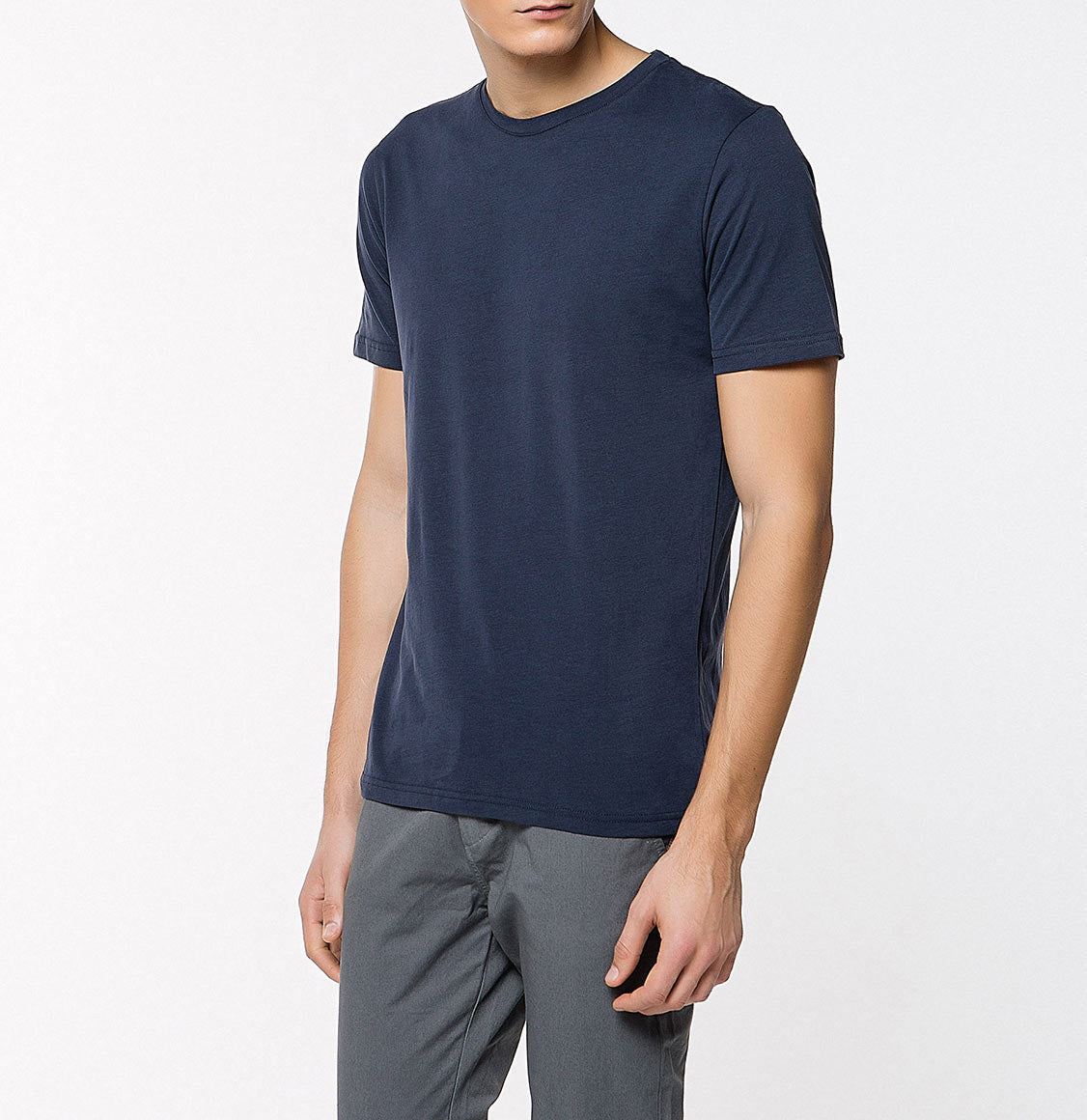 Crew Neck Supima Cotton T-shirt Navy Blue | The Project Garments - Front
